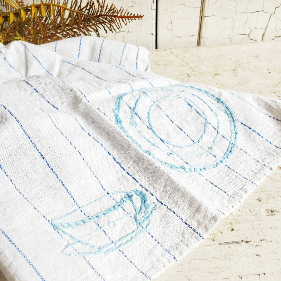 Vintage French Blue Ticking  Stripe Linen  Dish Towel