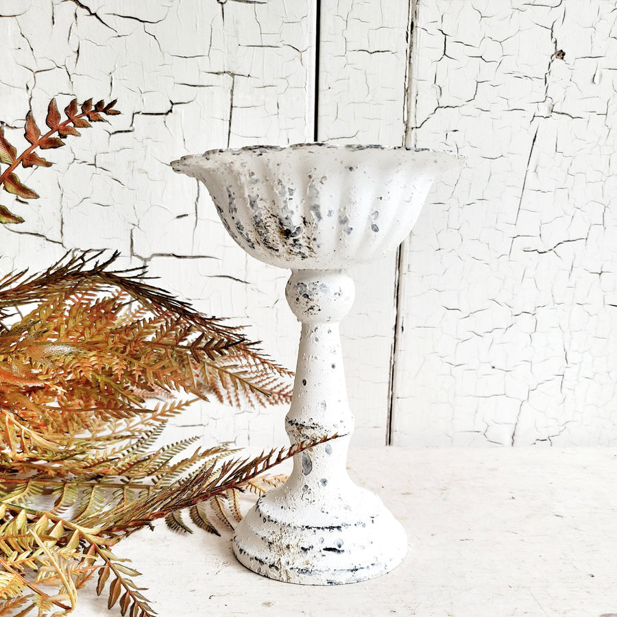 Textured Chippy White  Metal Pedestal