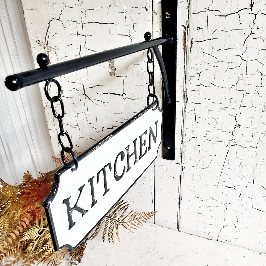 Metal and Enamel Kitchen Bracket Sign