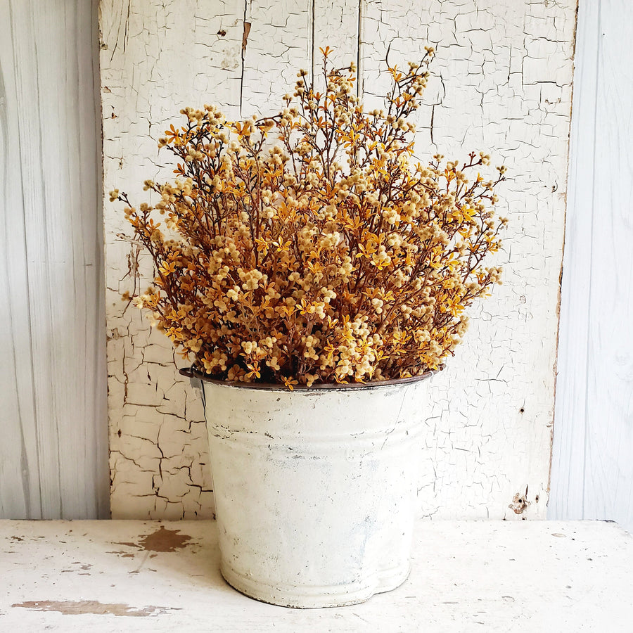 Flocked Berry Bush - Faded Mustard