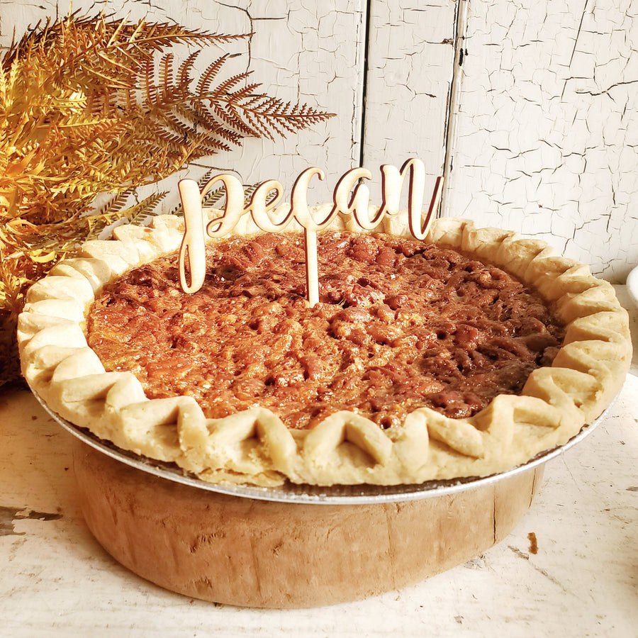 Wood Script Pie Pick....PECAN