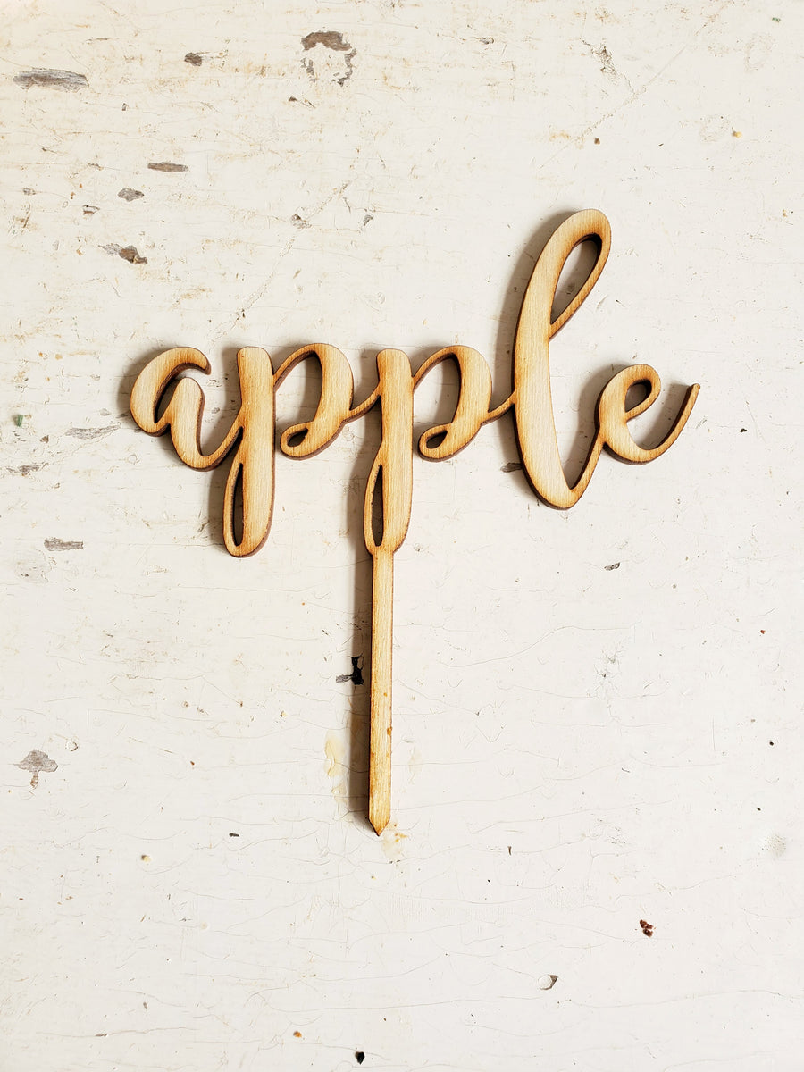 Wood Script Pie Pick....APPLE