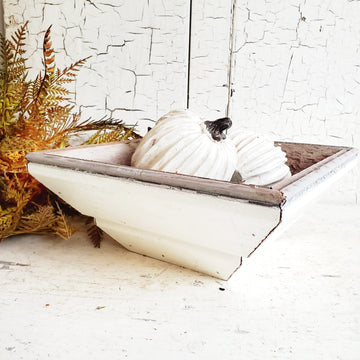 Vintage Style Chippy White Wood Square Bowl