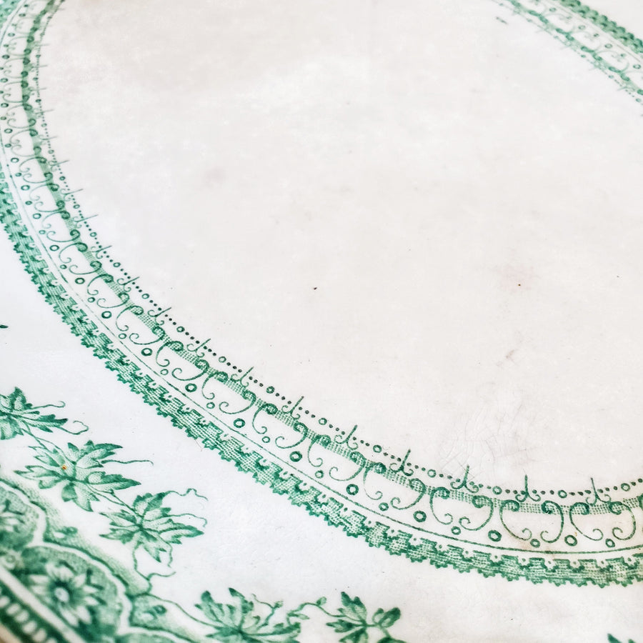 Vintage Medium New Wharf Green Floral Transferware Platter