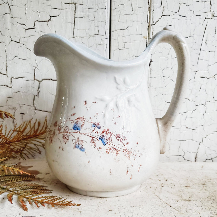 Vintage Floral Transferware Ironstone Pitcher