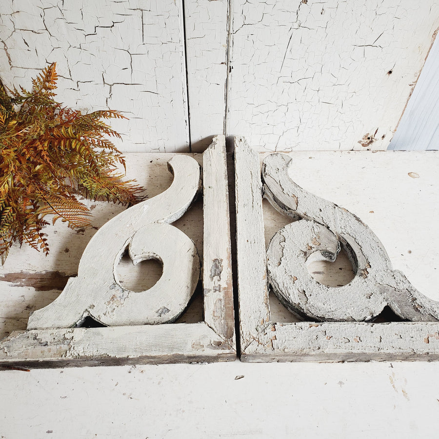 Pair Vintage Chippy White Corbels