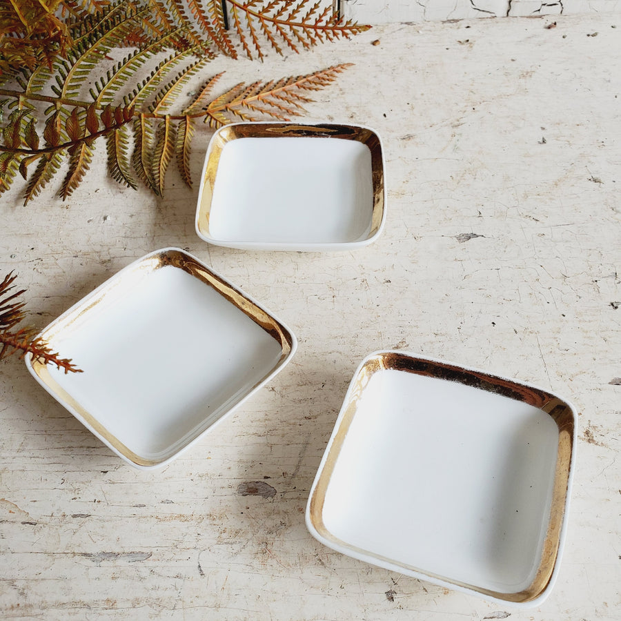 Set of 3 Square China Butter Pats with Gold Trim
