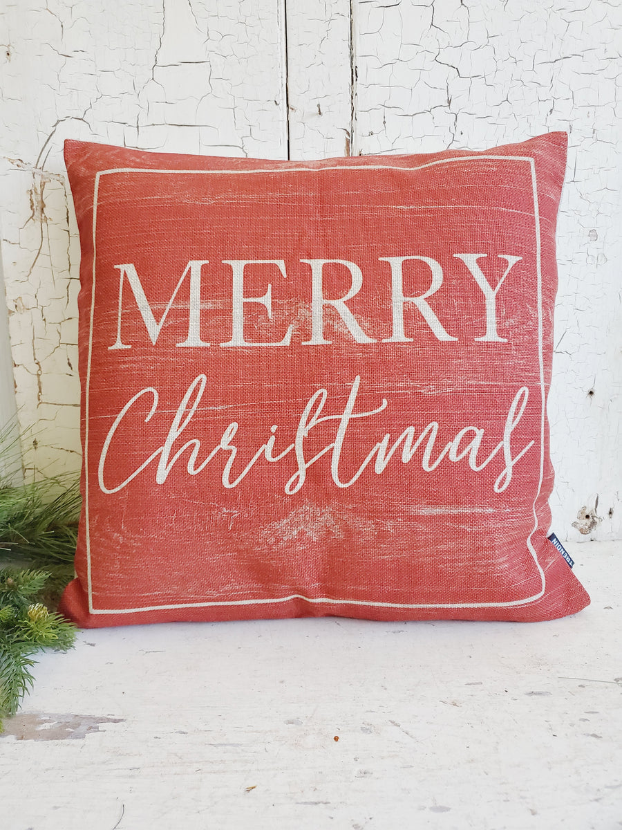 Large Distressed Red Merry Christmas Pillow