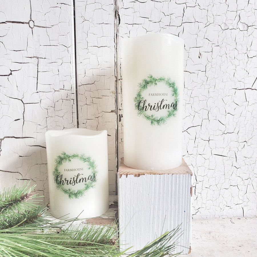 3 x 4 Battery Operated Farmhouse Christmas Pillar Candle