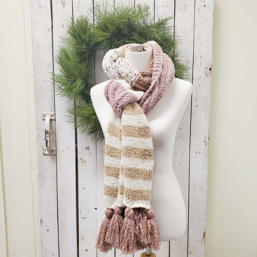 Soft Speckle Stripe Tassel Scarf - Rose Mocha