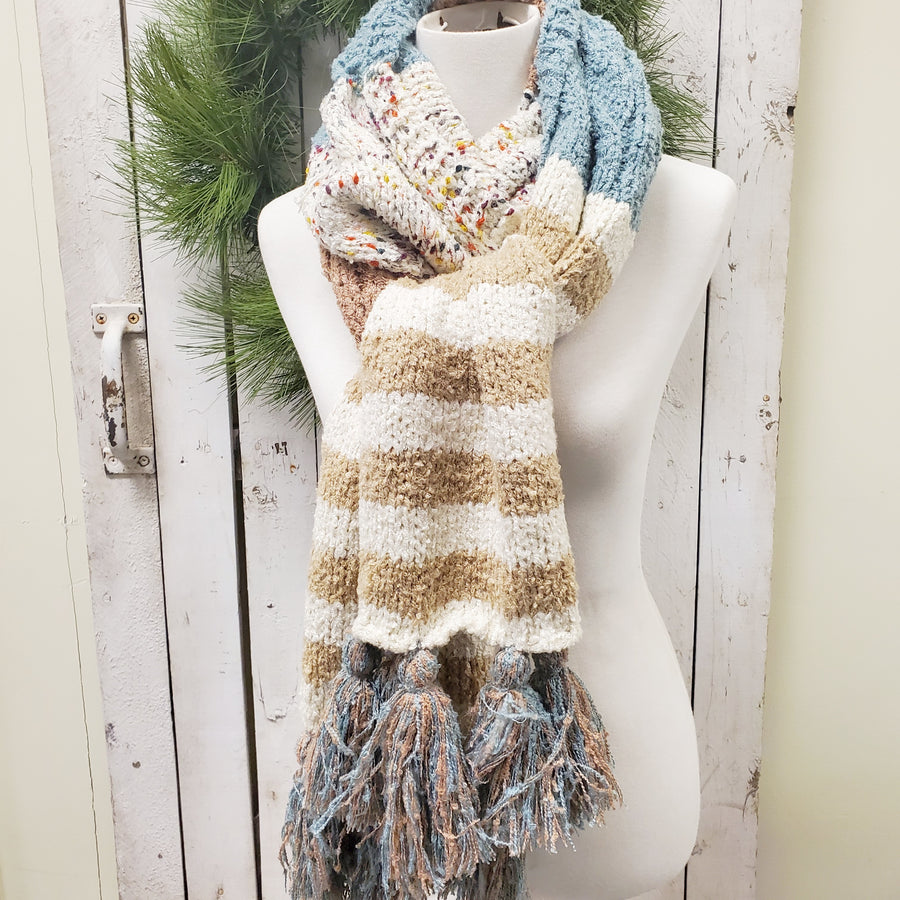 Soft Speckle Stripe Tassel Scarf - Blue Mocha