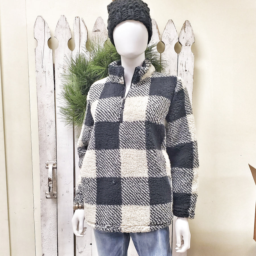 Black and White Fleece Buffalo Check Pullover