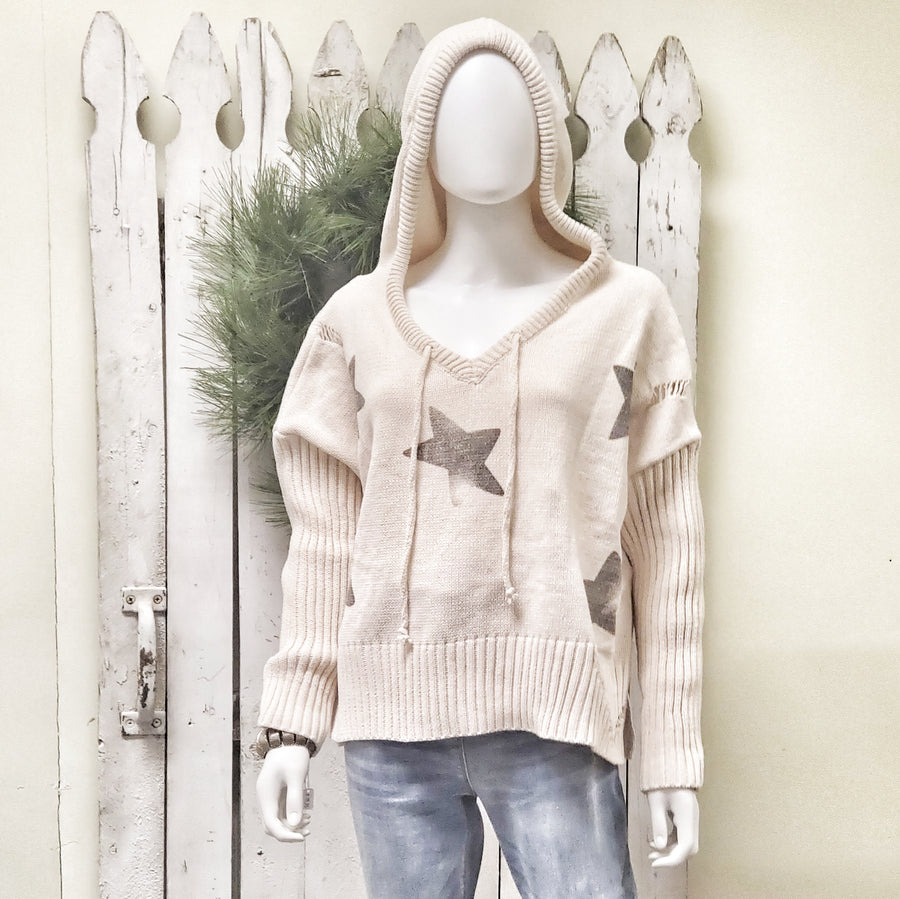 Distressed Gray Star Ivory Hoodie Sweater