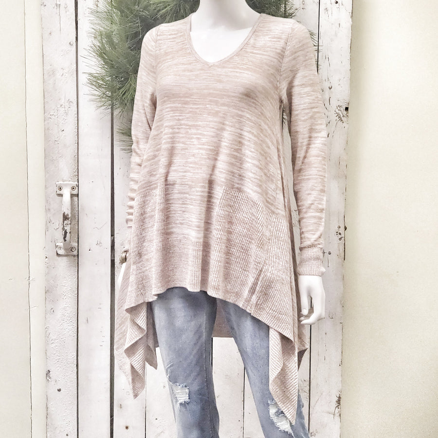 Copper and Ivory V Neck Flowy Sweater