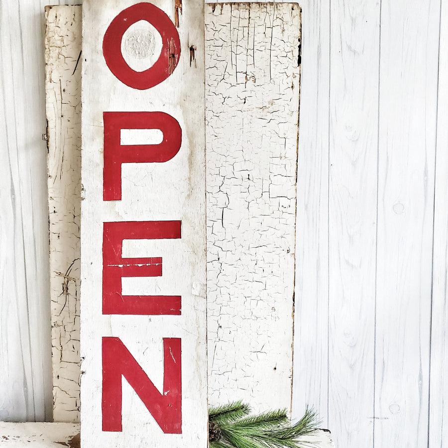 Vintage Red and White OPEN Sign