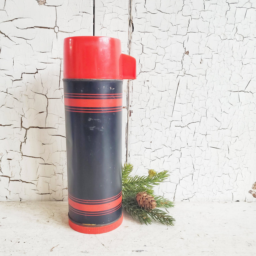 Vintage Aladdin Black and Red Thermos