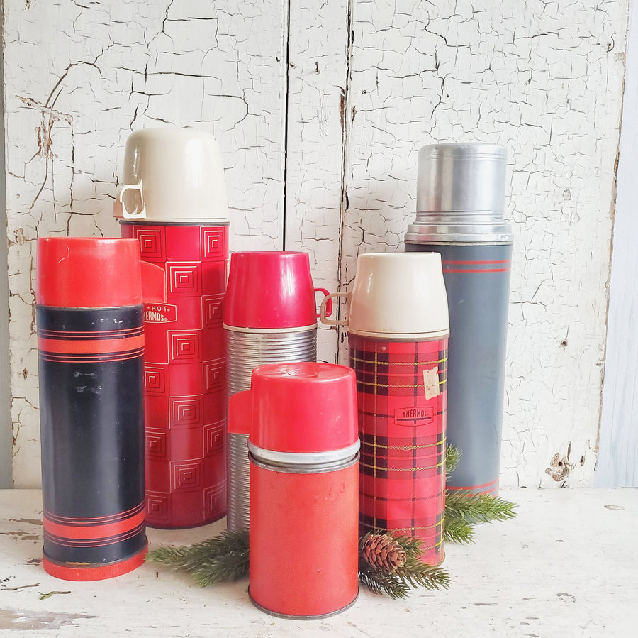 Vintage Tall Gray Thermos