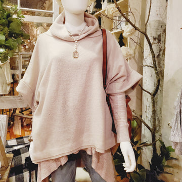 Oversized Fleece Pullover with Cowl Neck Beige