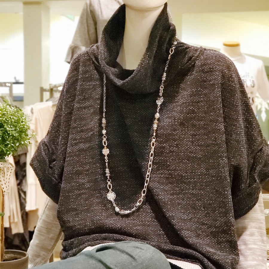 Oversized Fleece Pullover with Cowl Neck Charcoal