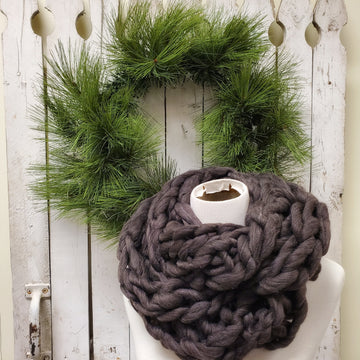 Chunky Knit Infinity Scarf- Charcoal