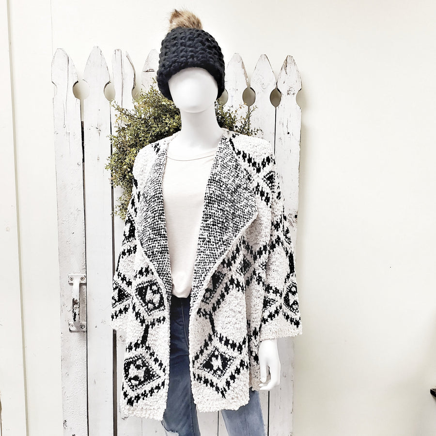 Be Bold Black and Cream Soft Drape Cardigan