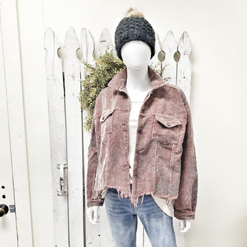 Rose all Day Corduroy Distressed Hem Jacket