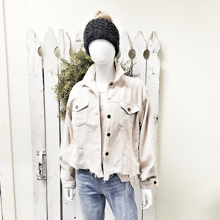 Vanilla Corduroy Distressed Hem Jacket