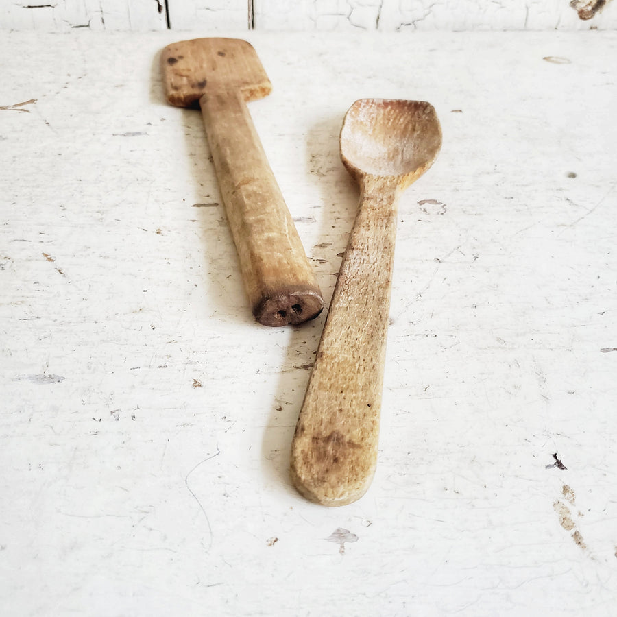 Pair of Old Wooden Spoons