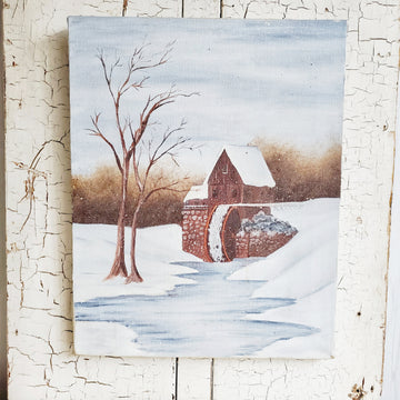 Vintage Winter Grist Mill Painting on Canvas