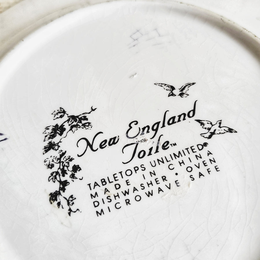 Pair of Vintage New England Toile Plates