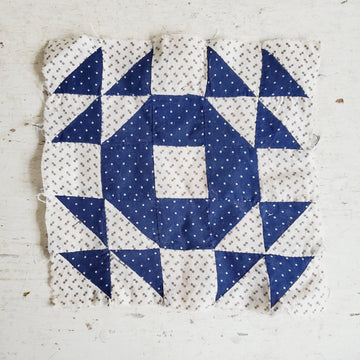 Handmade Blue and White Calico Quilt Square