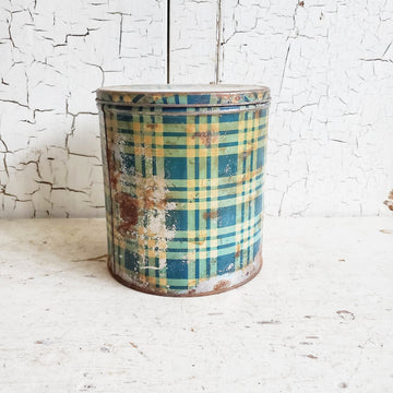 Vintage  Rusty Blue Gingham  Tin Canister