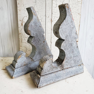 Pair of Large Chippy Blue Wood Corbels