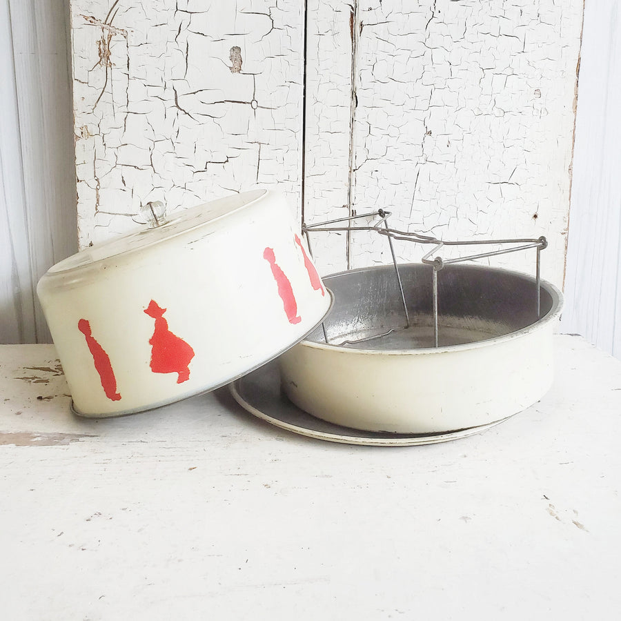 Vintage  Red and White Silhouette Metal Pie & Cake Carrier