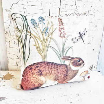 French Botanical Rabbit Pillow