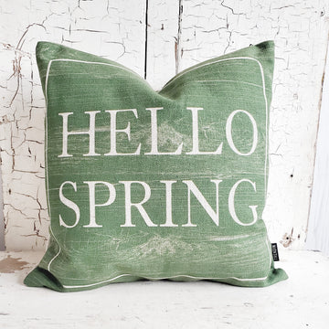 BIG GREEN HELLO SPRING PILLOW