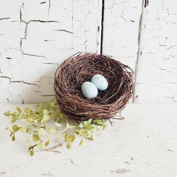 Small Twig Nest with Blue Eggs