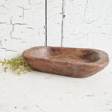 Vintage Style Petite  Wood  Dough Bowl