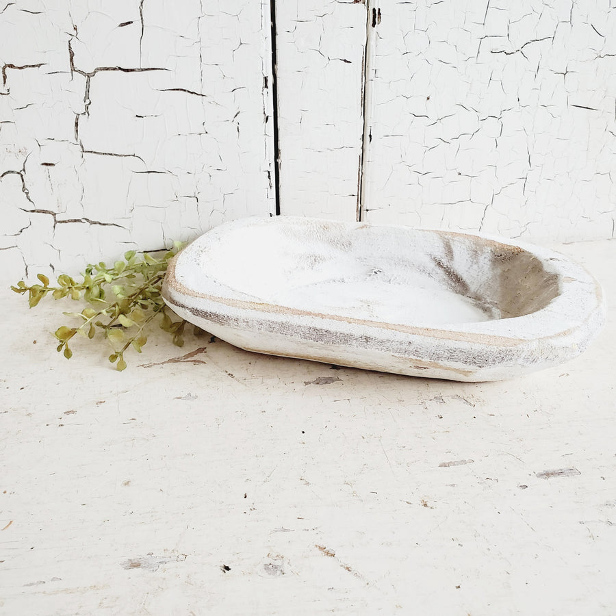 Vintage Style Chippy White Dough Bowl- Petite