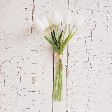 Real Feel Tulip Bunch - WHITE