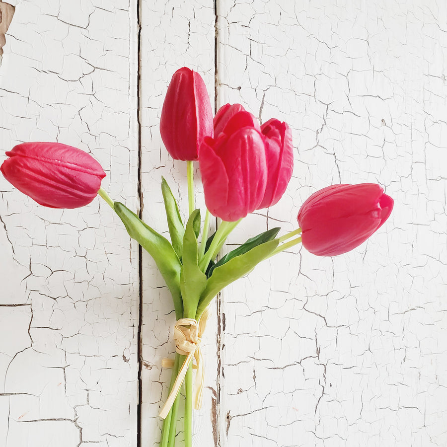 Real Feel Tulip Bunch - RED
