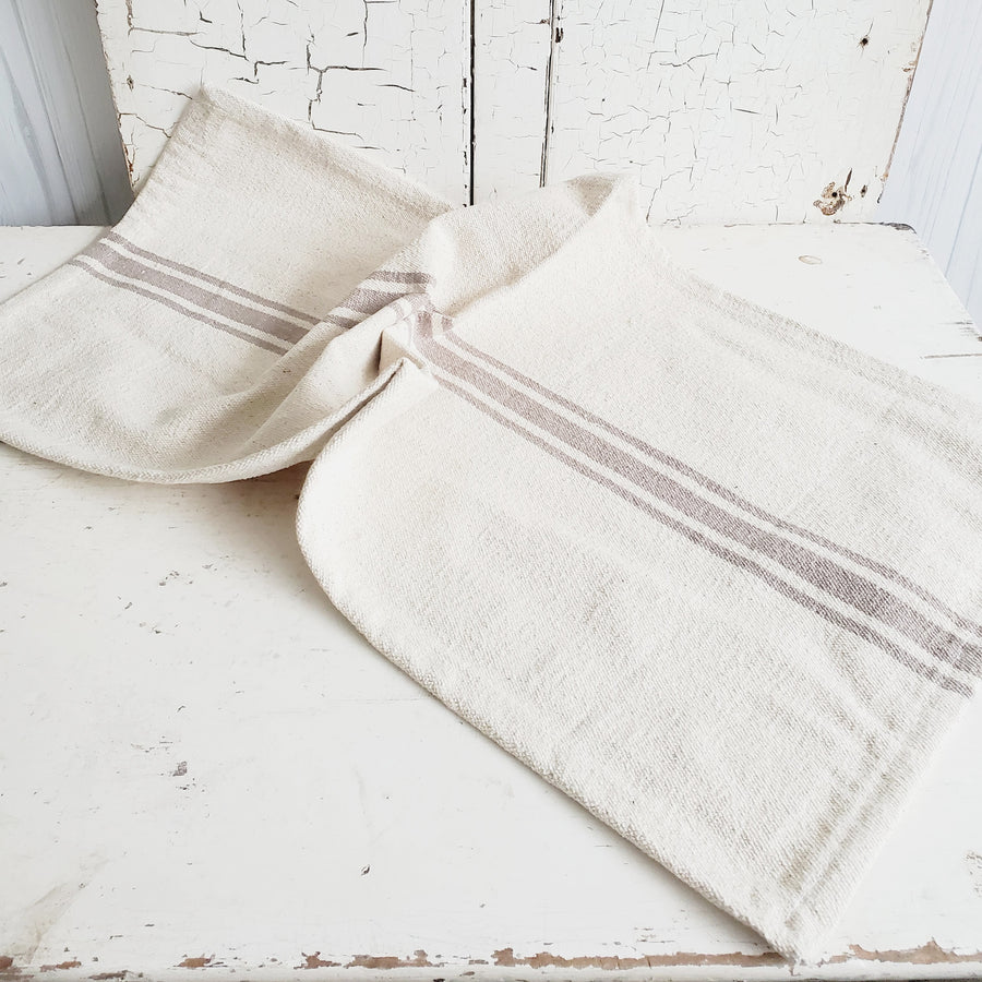 Neutral Tan French Stripe Cotton Table Runner - Long