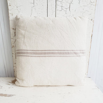 Neutral Tan French Stripe Cotton Pillow