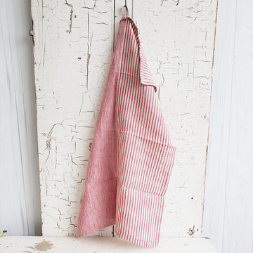 Natural Linen Red Multi Stripe Dish Towel