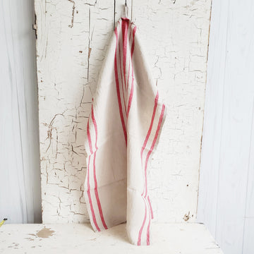 Natural Linen Red French Stripe Dish Towel