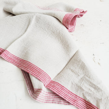 Natural Linen Red Border Stripe Dish Towel