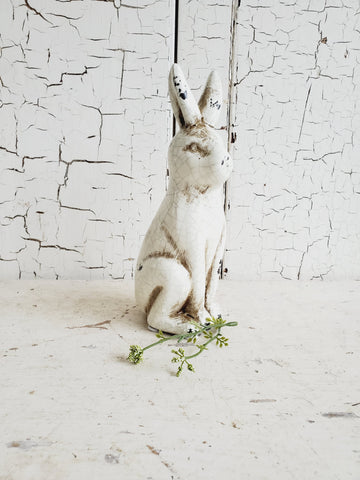 Cream Rabbit with Crackled Glaze