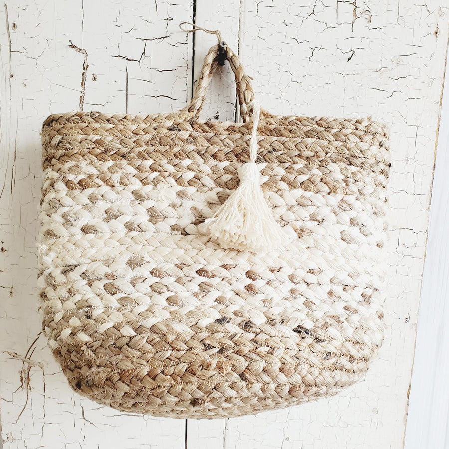 Braided Natural amd Bleached Jute Tote