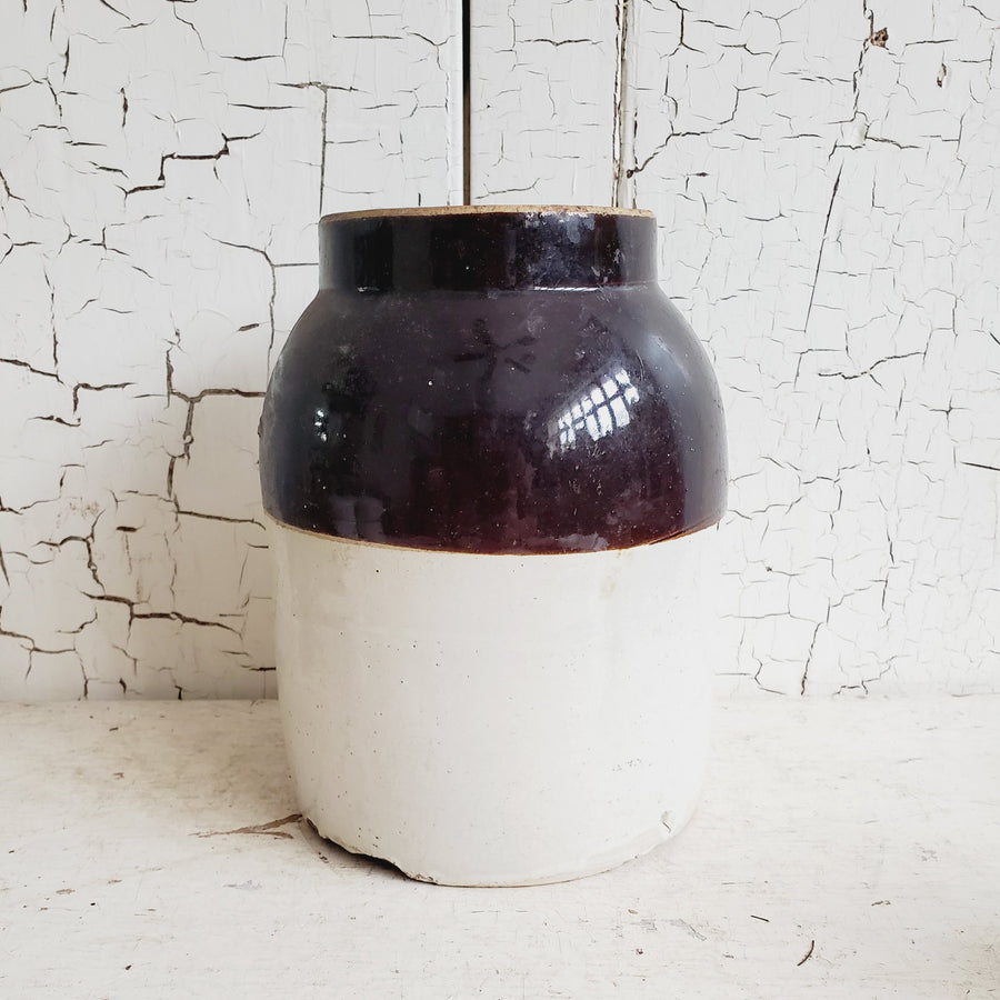 Vintage Two Tone Brown Glaze Stoneware Crock