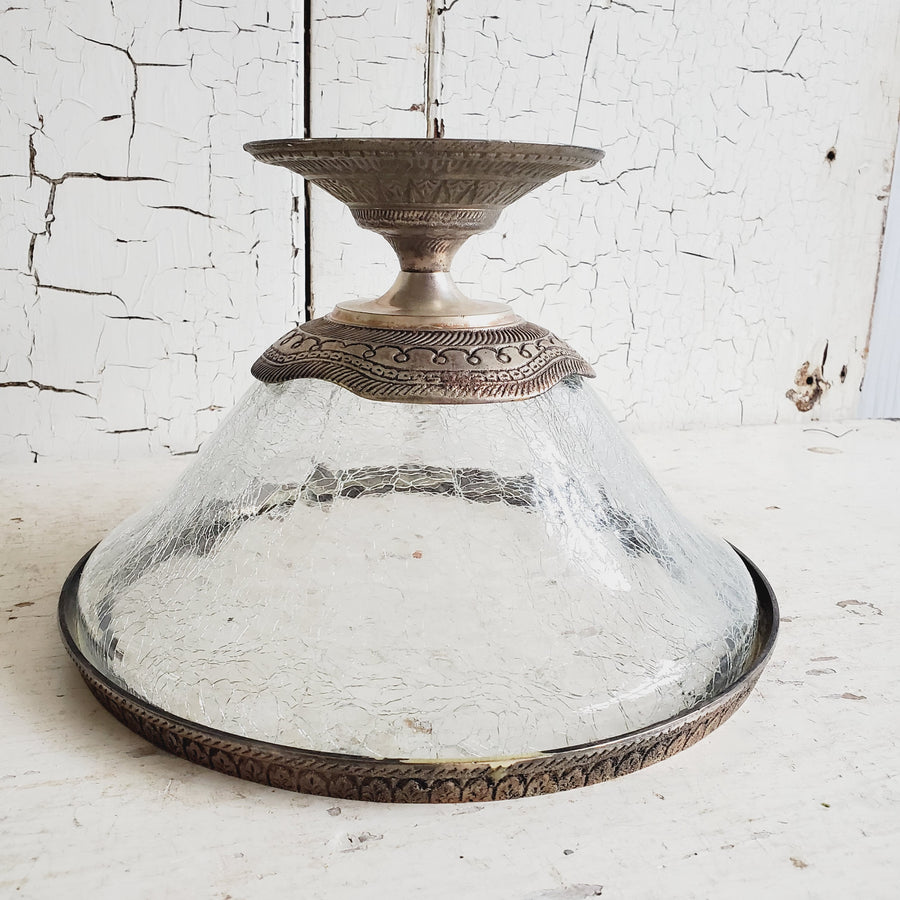 VINTAGE Crackled Glass and Brass Compote